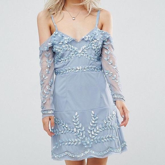 7119ca9f69eb ASOS Petite Dresses | Light Blue Cold Shoulder Embellished Mini ...
